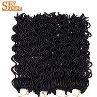 Silky Strands 24Inch 100g 24Strands/Pack Wavy Faux Locs Crochet Braids Kanekalon Synthetic Braiding Hair Extensions Bulk