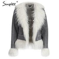Simplee faux fur coat women fur jacket Long sleeve female outerwears jackets 2016 autumn winter hairy overcoat shearling jacket
