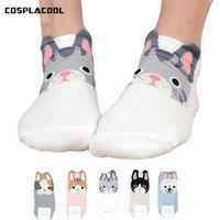 [COSPLACOOL]Cute Pug Life funny socks women Korean harajuku cotton Stereo ear dog socks calcetines mujer meias sokken hosiery