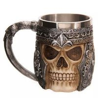 3D Viking Beer Mug Striking Skull Warrior Tankard Gothic Helmet Drinkware Vessel