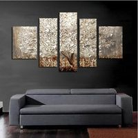 5 Pcs/set 100% Hand-painted Silver Tree Art Decoration Oil Painting On Canvas Wall Pictures For Living Room