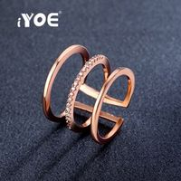 IYOE Trendy Opening Midi Knuckle Ring For Women Rose Gold Color CZ Crystal Stackable Rings Wedding Cocktail Bijoux