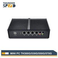 THUNDERSPEED Fanless Dual Core 4 LAN Mini PC i5 4200U 5250U Windows 10 Micro Mini