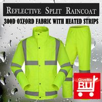 SPARDWEAR waterproof high visibility reflective safety rainsuit jacket and pant fluorescent yellow split raincoat  free shipping