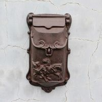 Cast Iron Mailbox Postbox Mail Wall Mount Metal Post