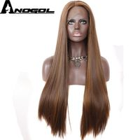 Anogol Long Straight Synthetic Lace Front Wig Dark Brown Glueless Heat Resistant Fiber Hair Wigs For Women Cooper Red Auburn