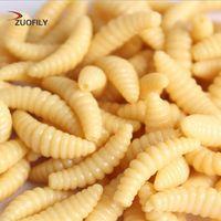 ZUOFILY 50PCS 2cm 0.3g maggot Grub Soft Fishing Lure hooks smell Worms Glow Shrimps