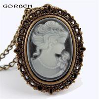 Gorben Bronze White Lady Beauty Quartz Pocket Watch Women