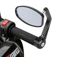 """Cherk 7/8"""" CNC Aluminum Rear Side Mirror Handle Bar End Oval Black For Motorcycle"""