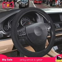 sikeo 4 Clolors Skidproof Durable Car Steering Wheel Cover Sandwich Fabric Handmade