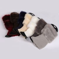 COCKCON Womens Winter Warm Crochet Knit Fur Trim 1Pair