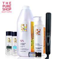 PURC Brazilian keratin hair straightening 12% formaldehyde 2 bottles shampoo one hair