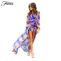 FHTEX Chiffon Print Playsuit for Women Elegant V Neck