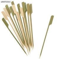 LIMITOOLS 40pc BBQ Wooden Bamboo Paddle Skewers Disposable