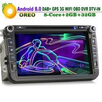 VANKESEONG 8-Core Android 8.0 DAB Car Multimedia CD Player GPS Sat Navi for VW