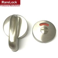R Rarelock Supplies Stainless WC Toilet Handle Door Lock with Red Green Tips