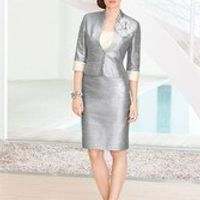 Silver Mother Of The Bride Pant Suits Free Shipping Vestido De Madrinha Mother Of The Bride Dresses Knee-Length Jacket Flowers