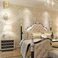 European Simple Luxury Beige Deep Blue Damask Wallpaper For Wall 3 D Classic Embossed TV Room Bedroom Wall paper Home Decor