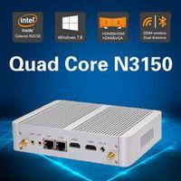 Hystou Fanless Mini Pc Quad Core Turbo boost  Intel N3150 Dual Lan Dual HDMI Windows 10 TV Box Mini Desktop 300M WiFi 4K HTPC