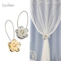 Lychee 1pc Gold Silver Flower Wire Curtains Tieback Magnet Curtains Buckle Magnetic Curtain Holder Curtain Strap Accessories