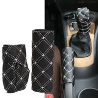 sikeo 1set Universal Car Gear Shift Knob Boot HandBrake Grip Cover Automobile Parking
