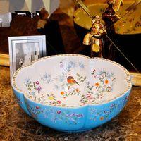 Europe Style Counter Top porcelain wash basin bathroom sinks ceramic patterned bathroom sink