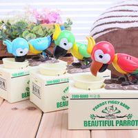 Creative cartoon stealing money piggy plastic parrots eat money piggy bank electric toys children birthday gift