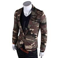 Fashion Spring Men Blazer Slim Fit Suit Jacket  Camouflage Style Casual Single Button Coat Tops -MX8