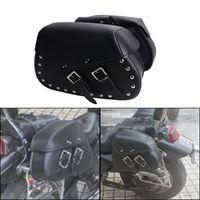 2x Punk Black Leather Rivet Motorcycle Saddle Bag Saddlebag Rider Motorbike Luggage For Harley Yamaha Honda Universal #MBH258