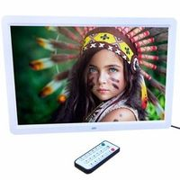 "15"" LED HD High Resolution Digital Picture Photo Frame with Remote Controller US EU Plug Black / White Color In stock!"