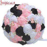 WifeLai-A New Custom White Black Pink Rose Flowers Brooch Wedding Bouquets Pearls Bowknot Bridal Wedding Decoration Flowers