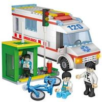 COGO 4124 City Hospital Ambulance Block Bicycle phone booth Kid Toy Enlighten Educational Building Blocks Children Toys Gift