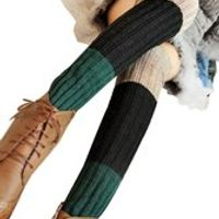 qepae Women's Knitted Leg Warmers Fingerless Stocking-black