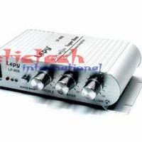 by dhl or ems 50 pcs 12V Mini Hi-Fi Stereo Amplifier 20W X2 RMS Amp For Home Car Boat Black/Silver LP-808