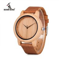 BOBO BIRD Bamboo Wood Watches for Men Casual Leather Strap