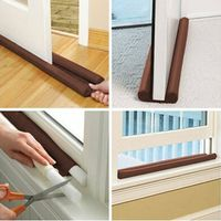 Brown Twin Door Draft Stopper Dual Draught Excluder Air