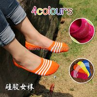 New fashion women summer shallow mouth invisible silicone non-slip thin sock slippers striped cotton candy color hot sell(cw13)