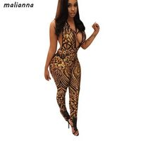 malianna 2018 Summer Women Sexy Sequined Deep V-Neck Halter
