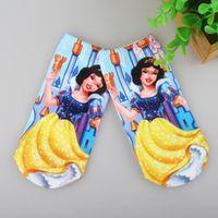 6Pair/lot Princess 3D Printing Cartoon Pattern Cotton Children's Baby Kids Socks Suit for 2-10 Year Girls Women