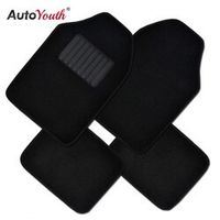 AUTOYOUTH Black Carpet Car Floor Mat Universal Fit Mat for SUV Van Trucks - 4pcs