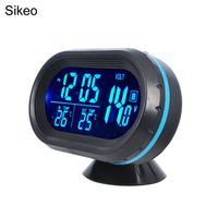 Sikeo DC12-24V Digital Auto Car Clock Thermometer LED Lighted Automobile Dual