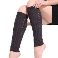 Lanshifei Winter Wool Knitted Women Leg Warmers Knee Long