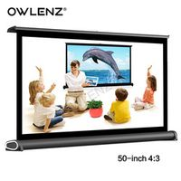 "OWLENZ 50"" 4:3 Portable Easy Carry Mini Projection Projector Table Screen Matt White"