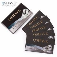 Qshave Double Edge Classic Safety Razor Blade Straight Titanium Made in USA 5 Blades
