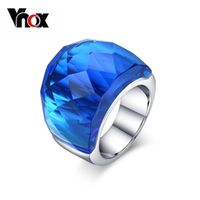 Vnox Free Box Large Crystal Stone Rings For Women Stainless Steel Wedding Party VNOX Women's  Ring