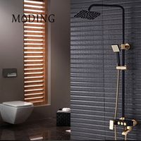 MODING Luxury Gold And Black Bath Faucets Black Bath Taps Shower Faucet Column Black Shower Panel Rainfall Black Shower#MD8002