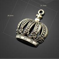 High Quality 20 PCS/Lot 26.2mm*21.7mm Jewelry Handmade New Antique Bronze Hemihedral 3D Crown Charms Pendants For Diy