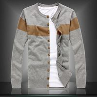 Free shopping new 2014 spring casual o-neck plus size 4xl cardigan men high quality striped wool mens sweaters /KS10