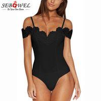 SEBOWEL Sexy Black/White Off Shoulder Women Crochet V