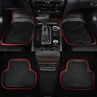 Car-pass Universal Car Floor Mat Red Pu Leather Front Rear Waterproof Anti-dirty Rugs